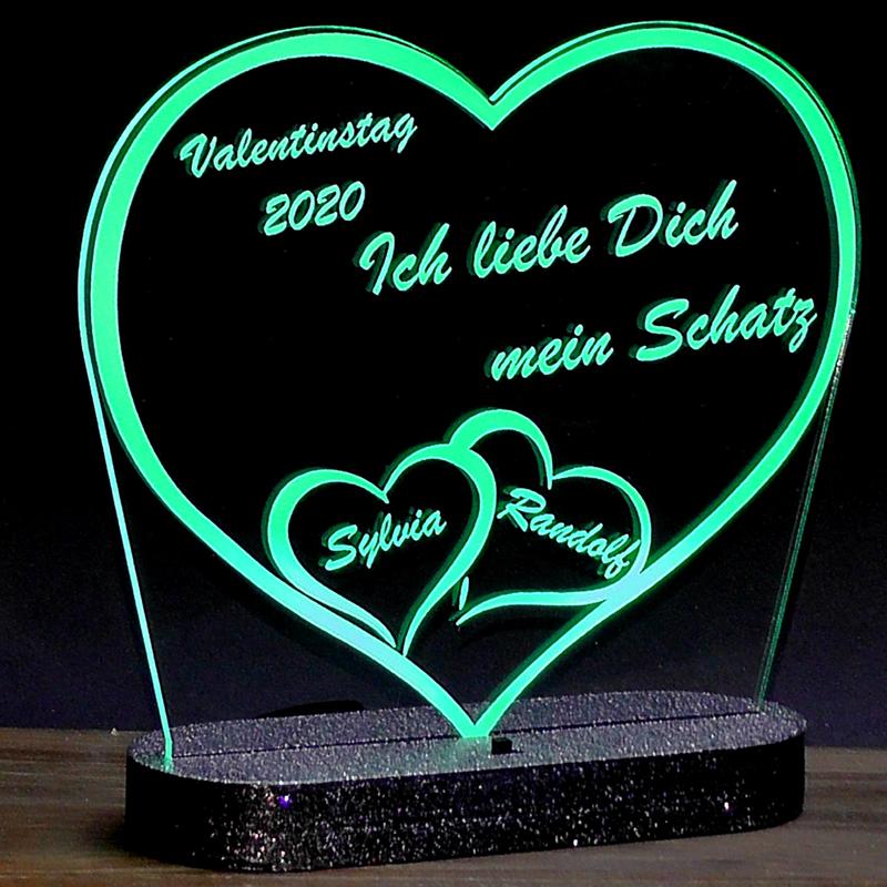 Acrylaufsteller Herz Valentinstag LED Beleuchtung